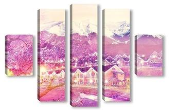 Модульная картина Деревня в горах