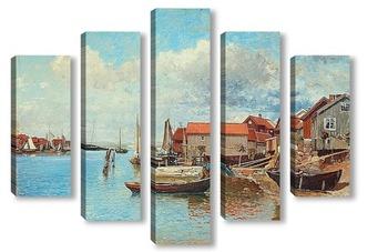 Модульная картина Рыбацкая деревня на западном побережье Швеции