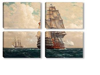 Модульная картина Корабль в море