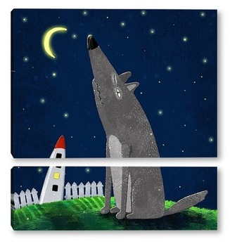 Модульная картина Ночной волк
