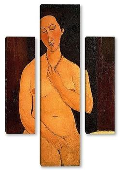 Модульная картина Сидящая обнаженная с ожерельем, 1917