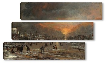 Модульная картина Катание на замёрзшей реке