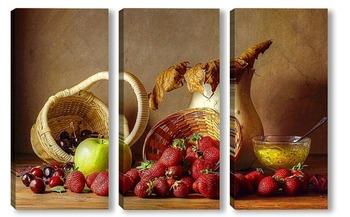 Модульная картина Натюрморт с клубникой