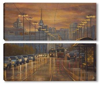 Модульная картина Вечерний Екатеринбург. На проспекте Ленина