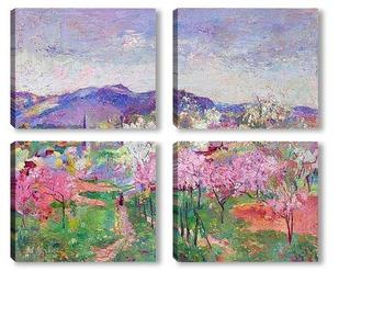 Модульная картина Фруктовый сад в цвету