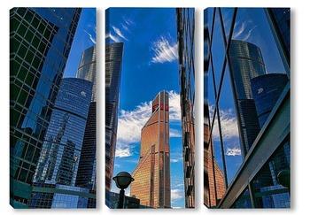 Модульная картина небо и небоскребы-6