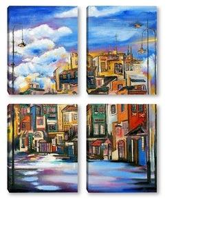 Модульная картина Город в облаках