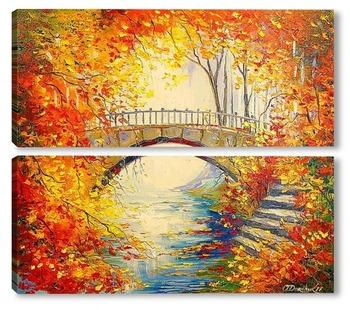 Модульная картина Осень в старом парке