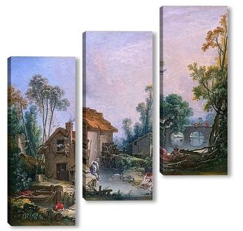 Модульная картина Пейзаж с водяной мельницей