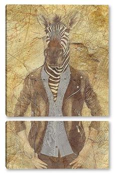 Модульная картина Зебра в куртке