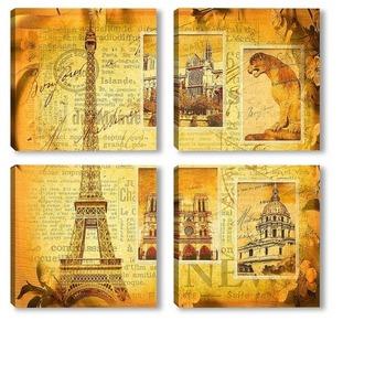 Модульная картина Коллаж Париж
