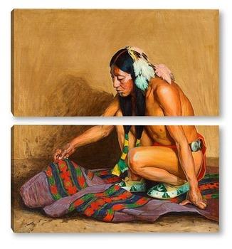 Модульная картина Индеец исследующий Одеяло