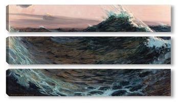 Модульная картина Волны под красным небом