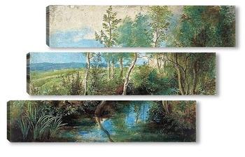 Модульная картина Пейзаж с ручьем