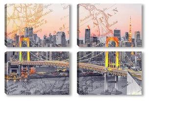 Модульная картина Радужный мост в Токио
