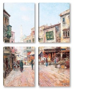 Модульная картина Восточная уличная сцена