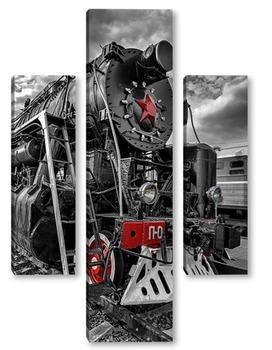 Модульная картина Спящие красные колёса II