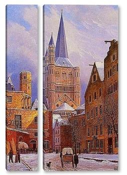 Модульная картина Кельн.Большой Сен-Мартин в снегу