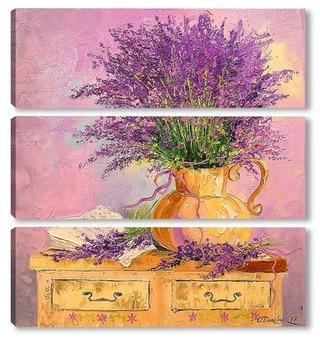Модульная картина Букет лаванды в вазе