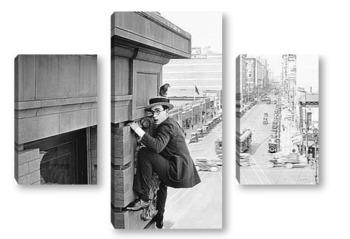 Модульная картина Гарольд Ллойд лезущий по стене здания
