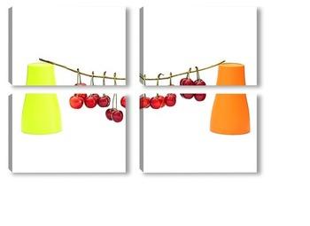 Модульная картина Натюрморт с ягодами черешни и двумя цветными стаканчиками
