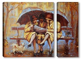 Модульная картина Три девицы под дождем