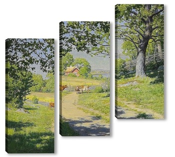 Модульная картина На шоссе - ферма летом, зелень