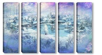 Модульная картина Деревня. Зима