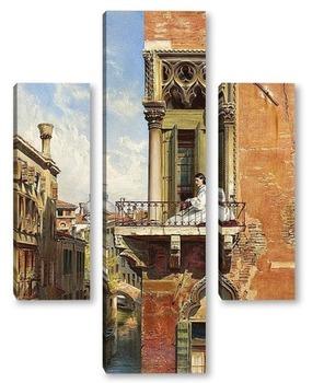 Модульная картина Анна Пассини на балконе Палаццо Приули в Венеции