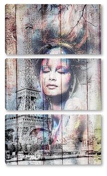 Модульная картина Парижанка