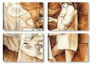 Модульная картина Танец кофейной кисти