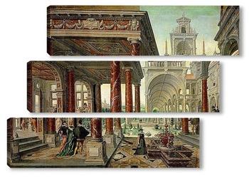 Модульная картина Дворцовая архитектура с прогуливающимися