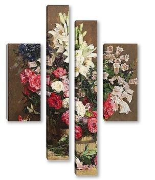 Модульная картина Розы и лилии
