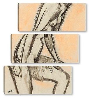 Модульная картина С рукой на колене