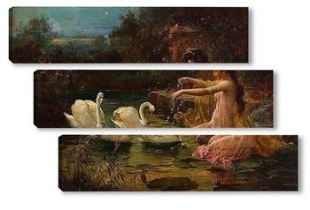 Модульная картина На Лебедином озере