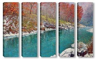 Модульная картина Изумрудная река
