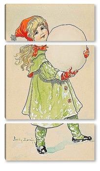 Модульная картина Девочка и снежный ком.