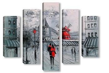 Модульная картина Мулен Руж в Париже