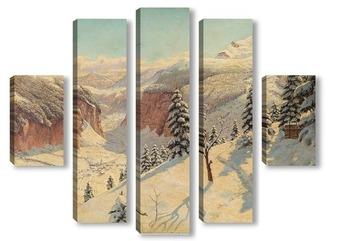 Модульная картина Зимний Горный Перевал