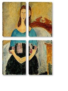 Модульная картина Портрет Жанны Эбютерн, сидя, 1918