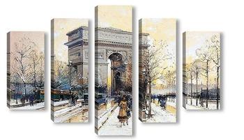 Модульная картина Триумфальная арка в снегу
