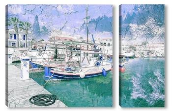 Модульная картина Рыболовные суда в порту Ликсури
