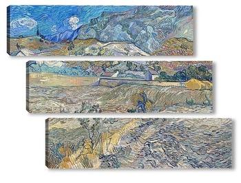 Модульная картина Закрытое поле с крестьянином (также известный как Пейзаж в Сен-Р