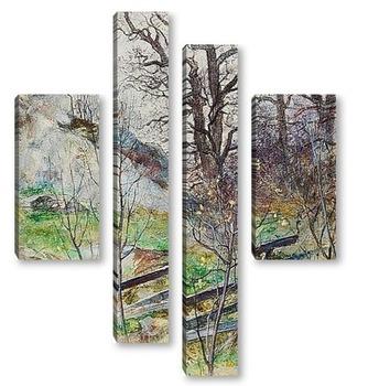 Модульная картина Лесная поляна с забором
