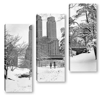 Модульная картина Всадники в Центральном парке зимой.
