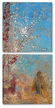 Модульная картина Фигура около цветущего дерева