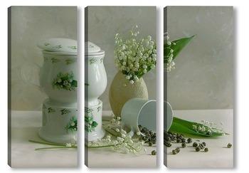 Модульная картина Чай с ландышами