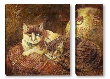 Модульная картина Черепаховые кошки