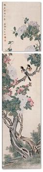Модульная картина Цветущее дерево с двумя птицами