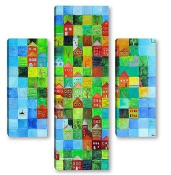 Модульная картина Зеленый город